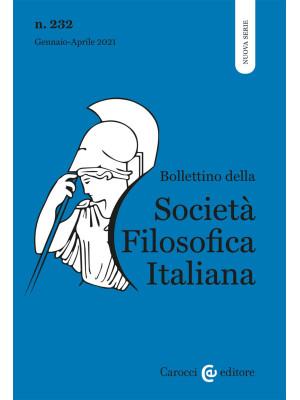 Bollettino della società filosofica italiana. Nuova serie (2021). Vol. 1
