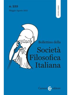Bollettino della società filosofica italiana. Nuova serie (2021). Vol. 2