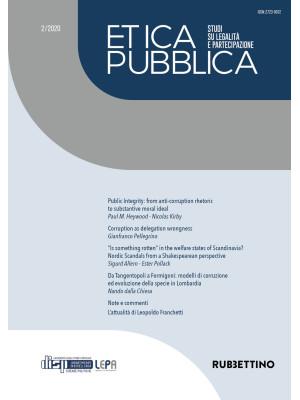 Etica pubblica. Studi su legalità e partecipazione (2020). Vol. 2