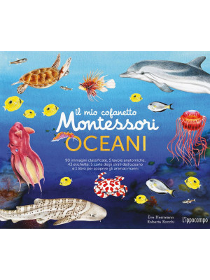 Il mio cofanetto Montessori degli oceani. Ediz. a colori. Con 90 carte degli animali. Con 5 carte degli strati dell'oceano. Con 43 etichette. Con 5 tavole anatomiche