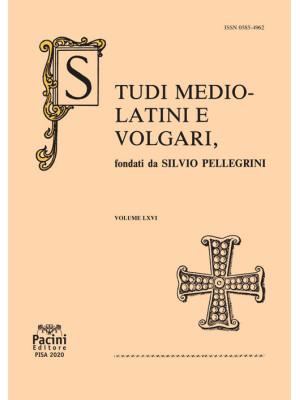 Studi mediolatini e volgari (2020). Vol. 66