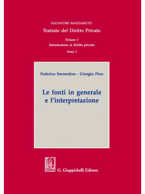 Trattato del diritto privato. Vol. 1/1: Le fonti in generale e internazionali